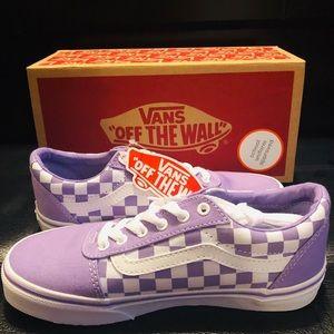 Kids Purple & White Checkerboard Vans